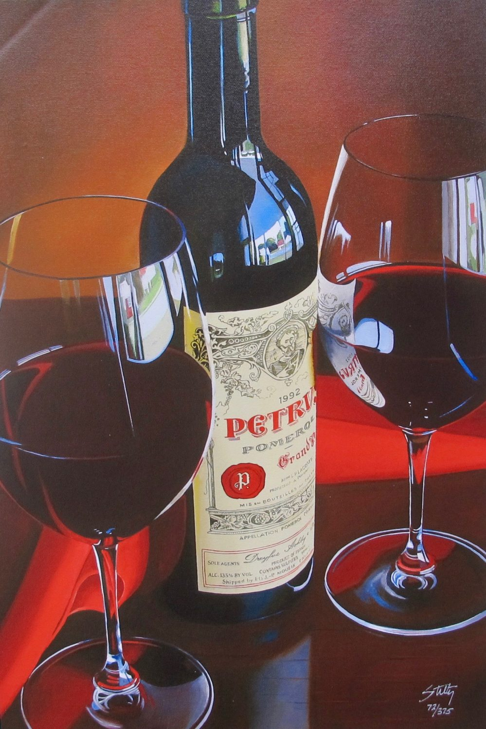 THOMAS STILTZ Petrus Hand Signed Limited Edition Giclee on Canvas Wine