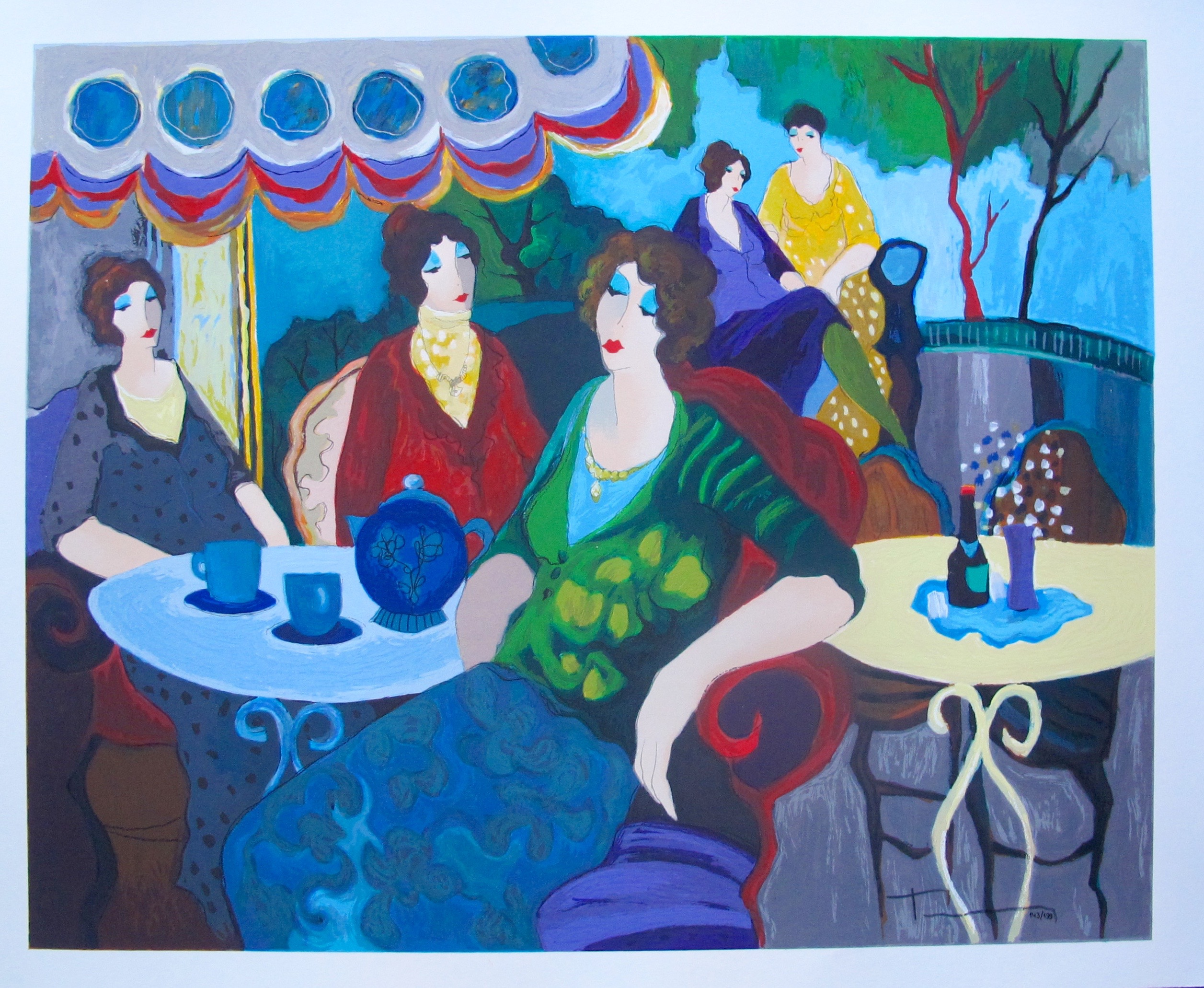 Itzchak Tarkay MORNING TEA Hand Signed Limited Edition Serigraph