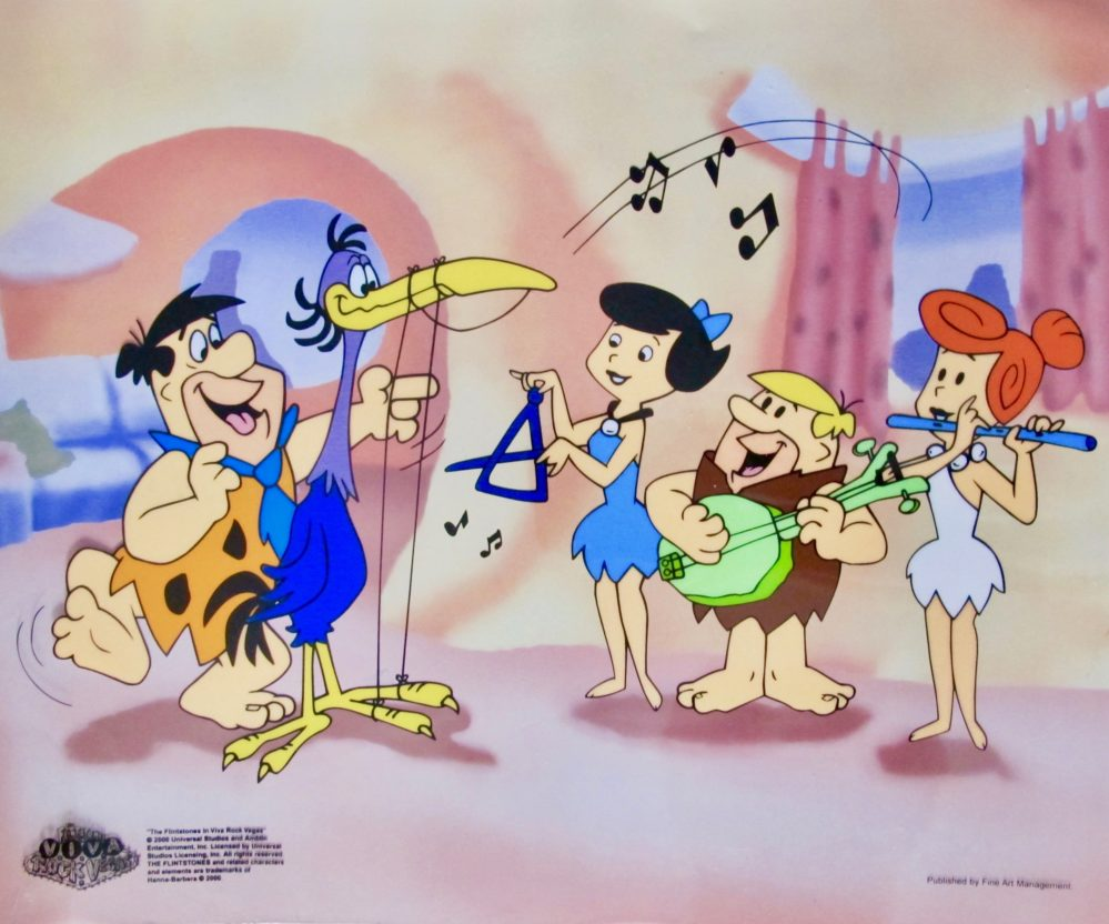 The Flintstones Fred Plays the Harp Animation Sericel