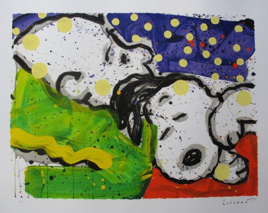 TOM EVERHART BORING SNORING Hand Signed Limited Edition Lithograph SNOOPY CHARLIE BROWN