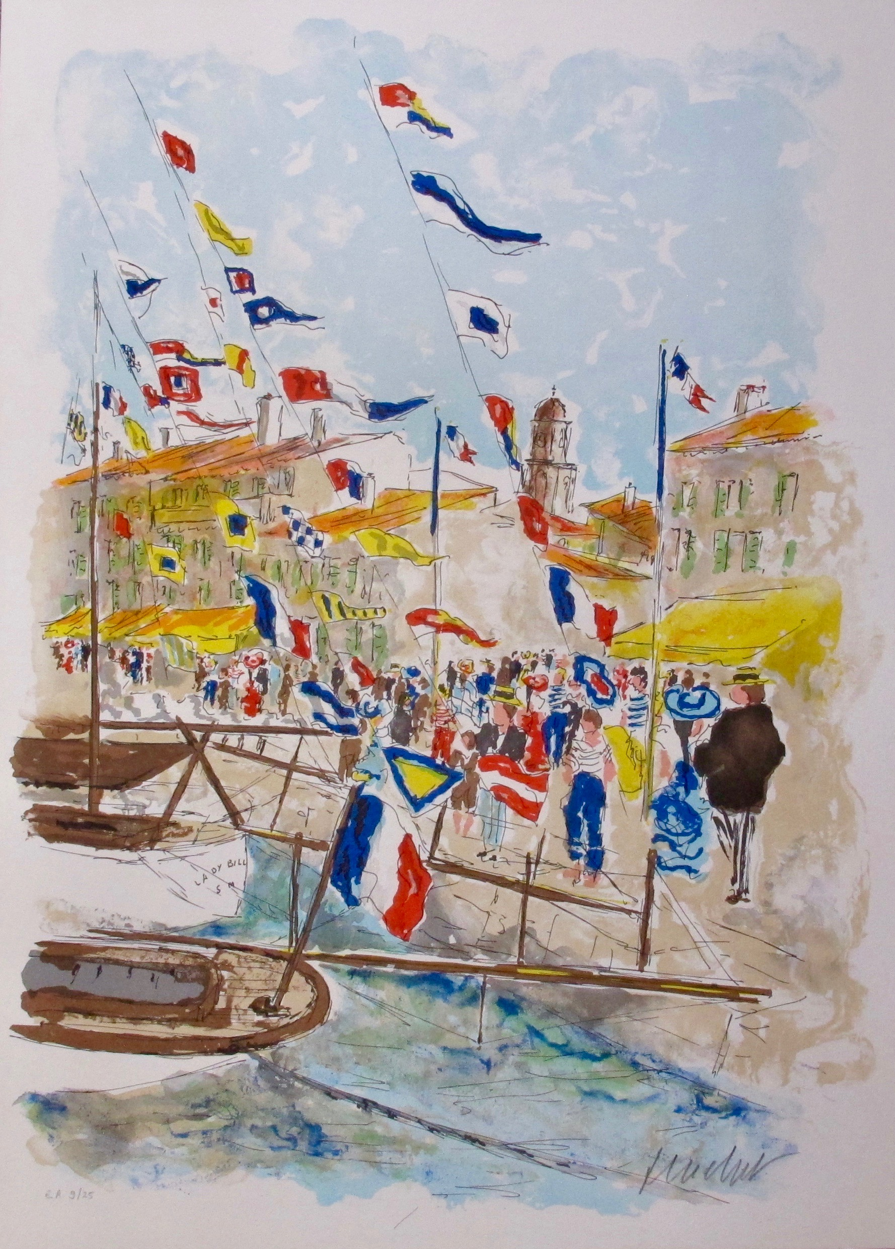 "URBAIN HUCHET /""Voiliers a Saint-Tropez/"" Hand Signed Limited Edition Lithograph"