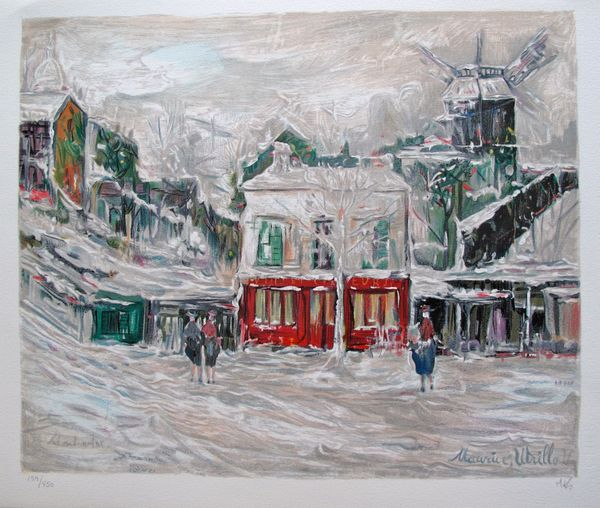 Maurice Utrillo WINTER IN MONTMARTE Hand Signed Limited Ed. Lithograph