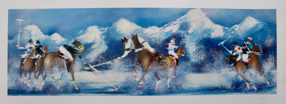 Victor Spahn POLO SUR NEIGE Hand Signed Limited Edition Serigraph