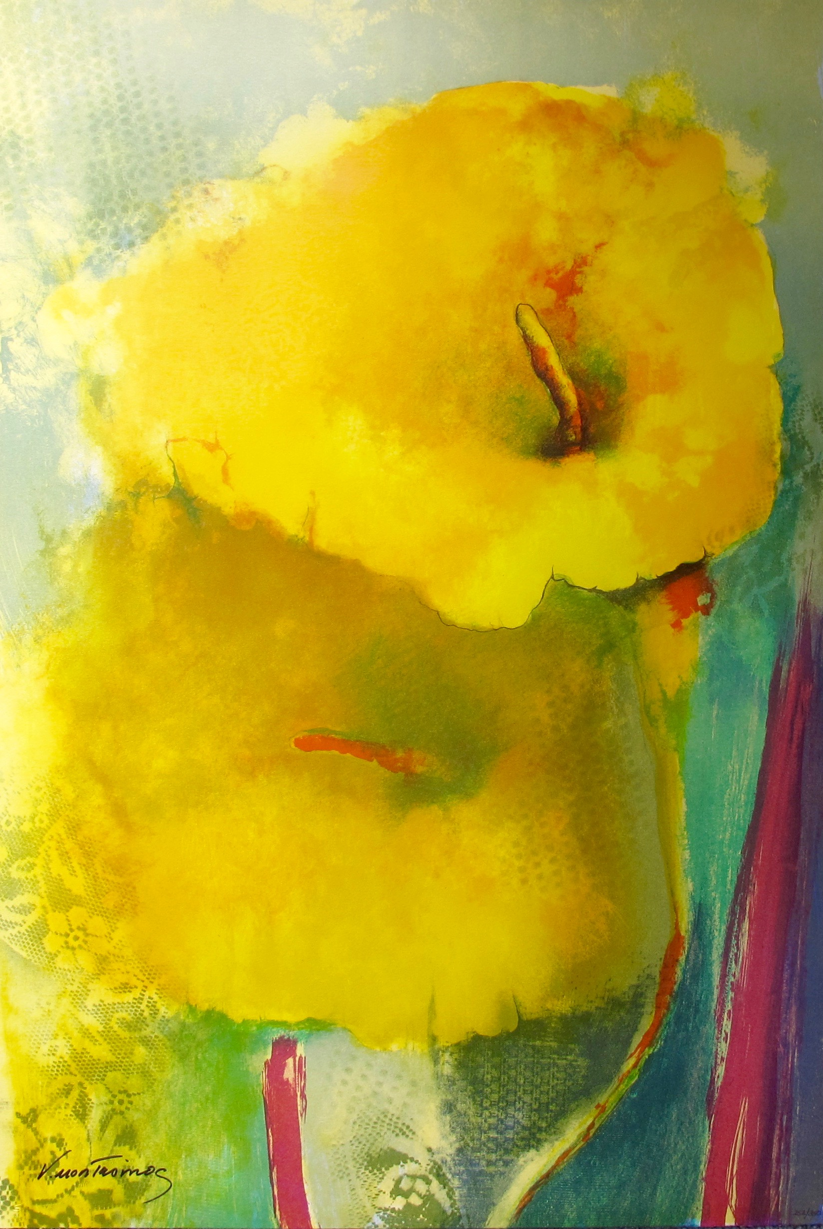 """VICTORIA MONTESINOS """"YELLOW LILY"""" Hand Signed Limited Edition Lithograph"""