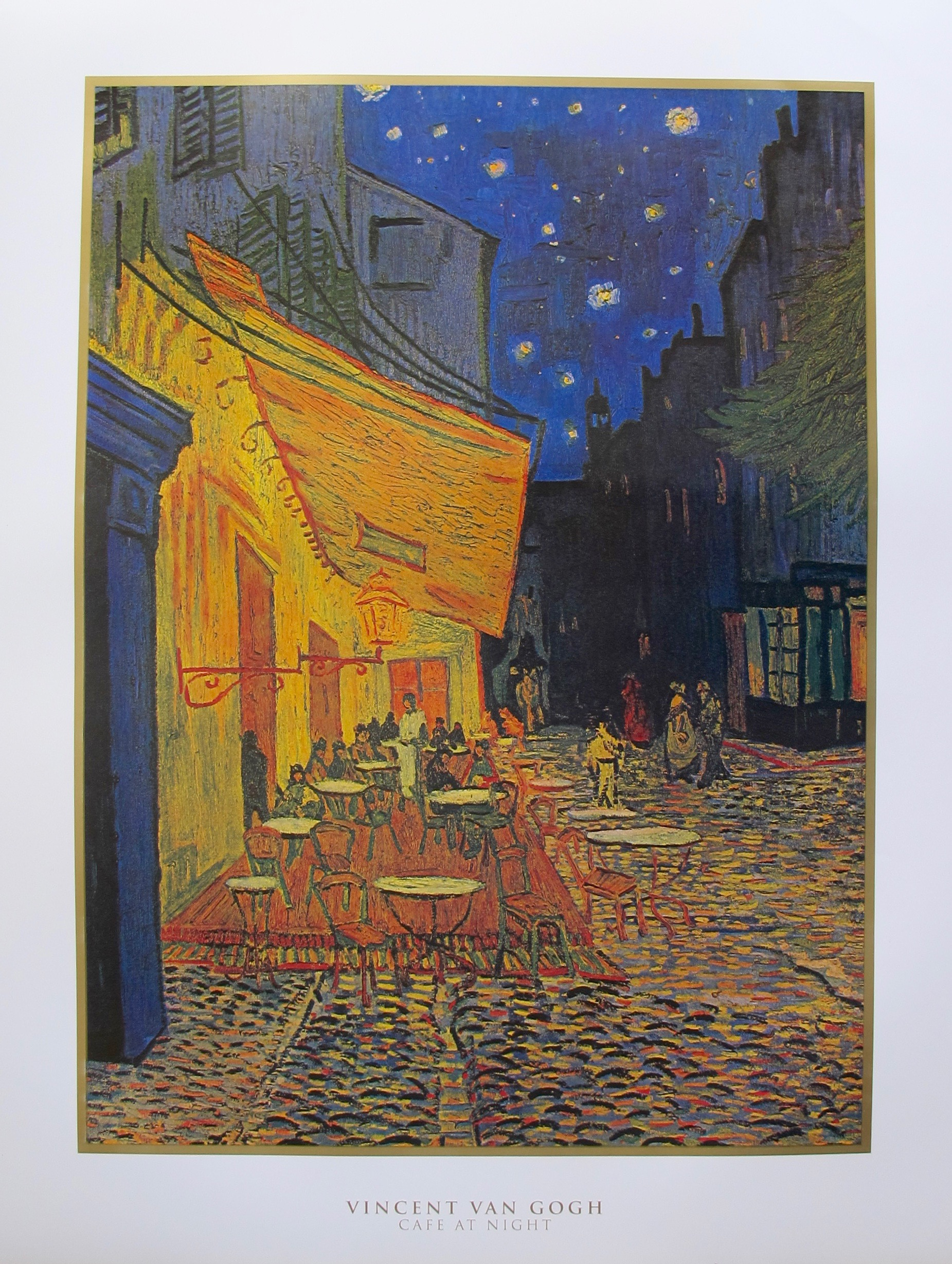 "VINCENT VAN GOGH ""CAFE AT NIGHT"" Large Lithograph"