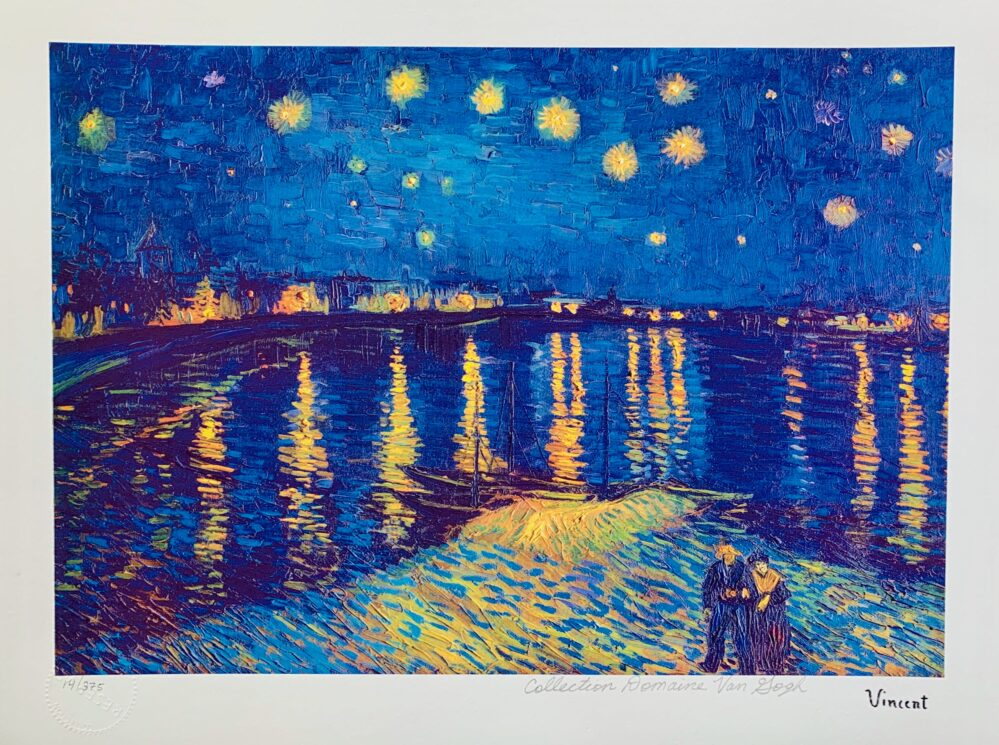 Vincent Van Gogh STARLIGHT OVER RHONE Estate Signed Limited Edition Small Giclee