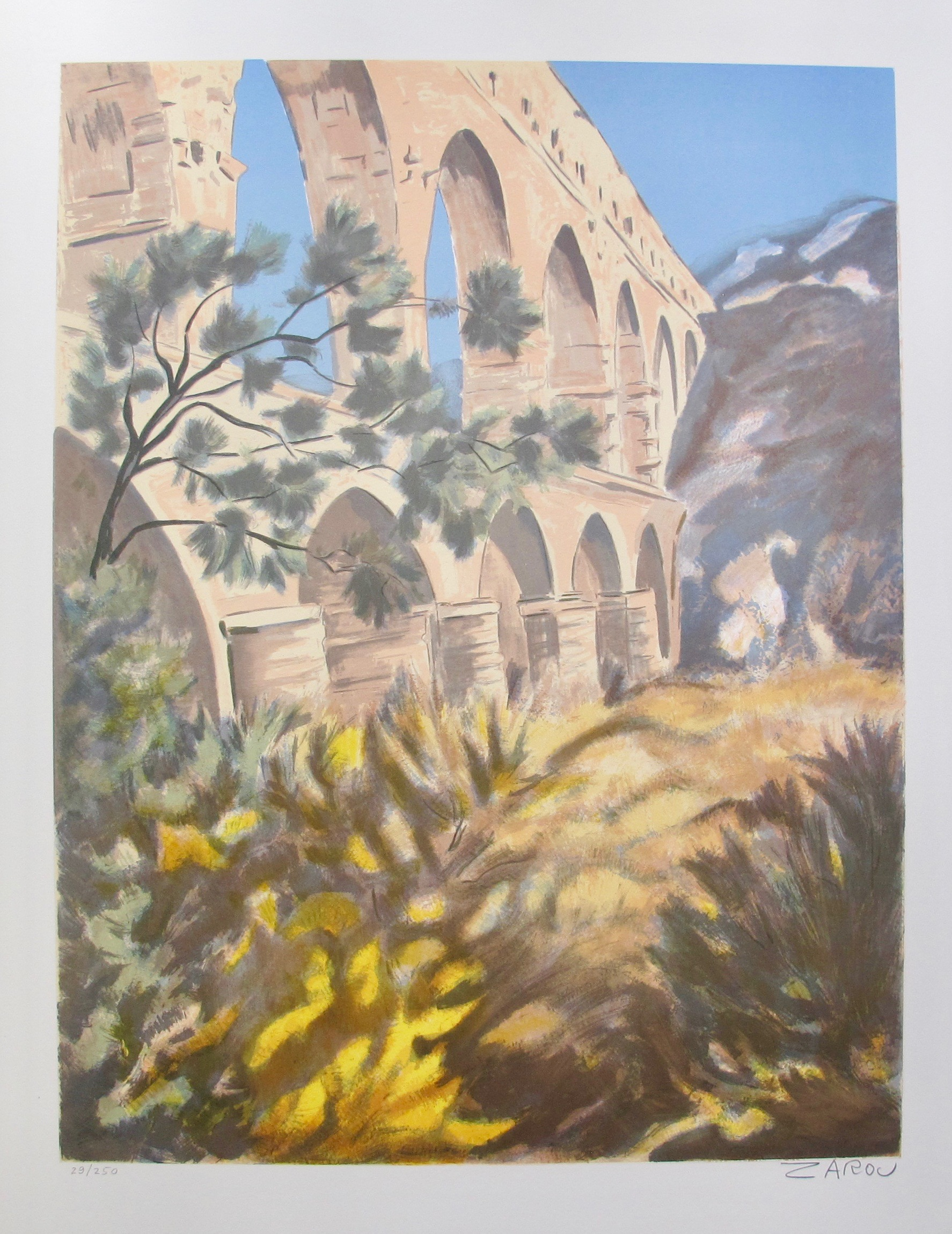 VICTOR ZAROU Colosseum Hand Signed Limited Edition Lithograph French Art