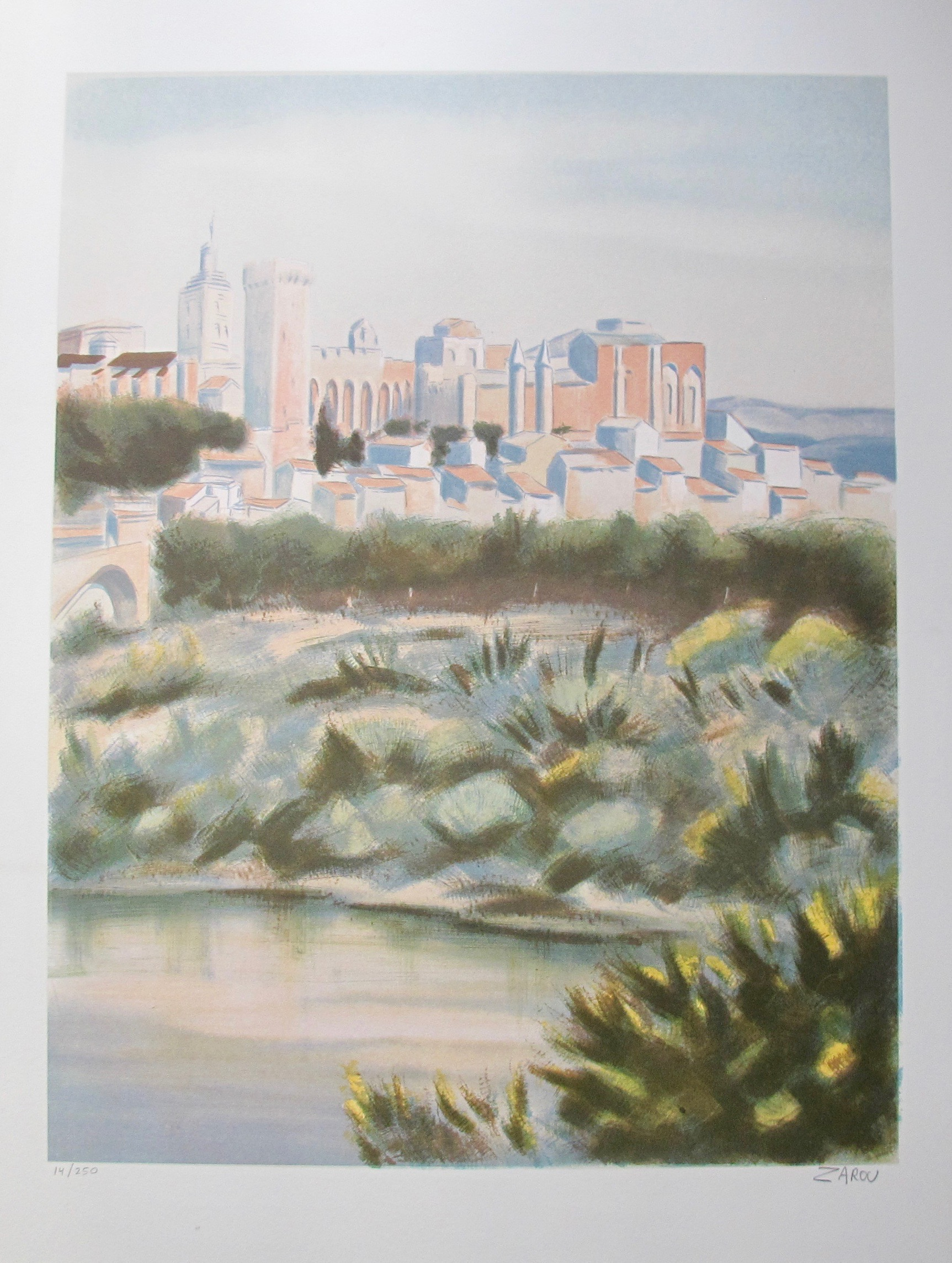 VICTOR ZAROU City by Bay Hand Signed Limited Edition Lithograph French Art