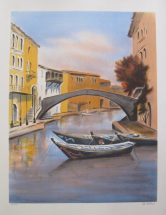 VICTOR ZAROU Gondolas Hand Signed Limited Edition Lithograph French Art