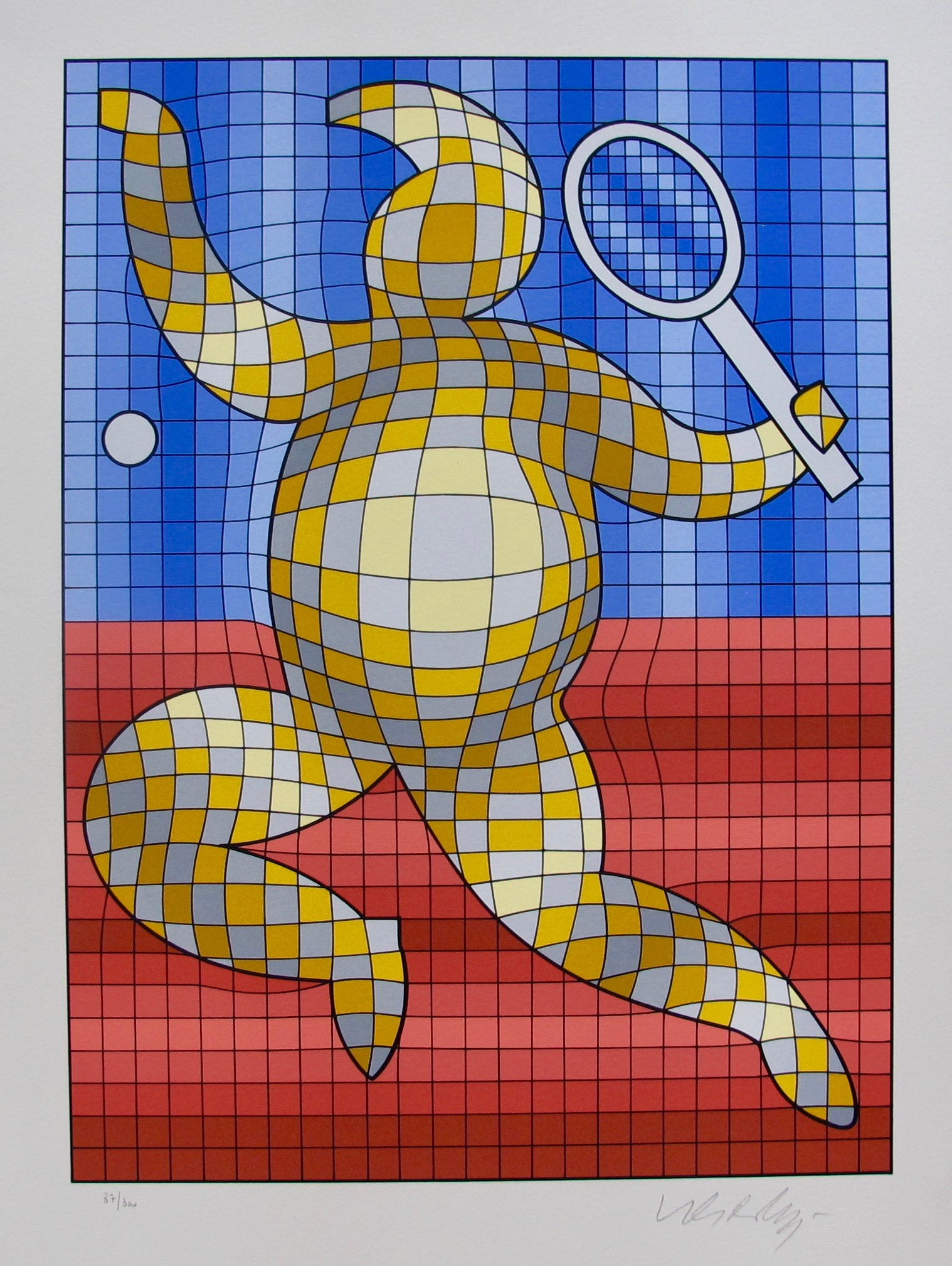VICTOR VASARELY TENNIS PLAYER Hand Signed 1987 Limited Edition Art Serigraph
