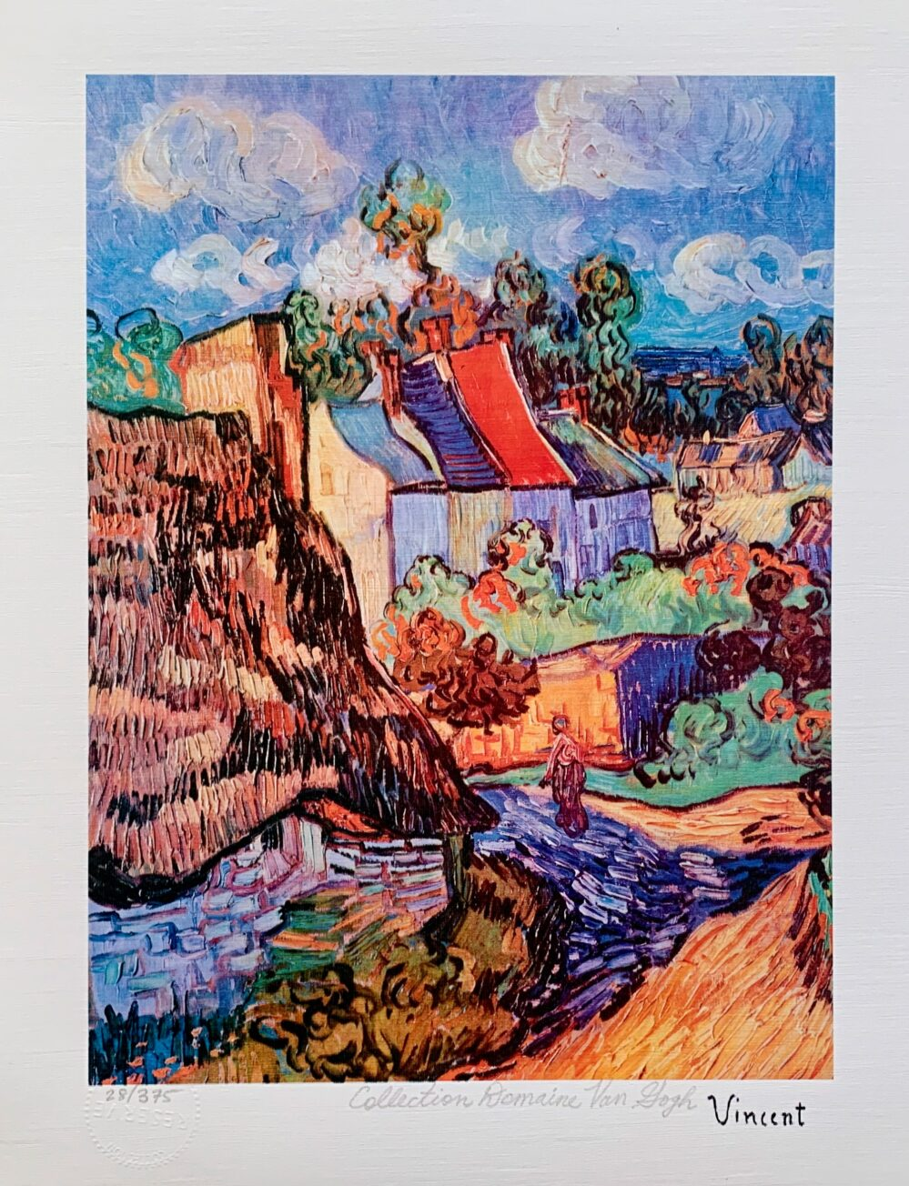 """Vincent Van Gogh HOUSES AT AUVERS Estate Signed Limited Edition Giclee 17"""" x 13"""""""