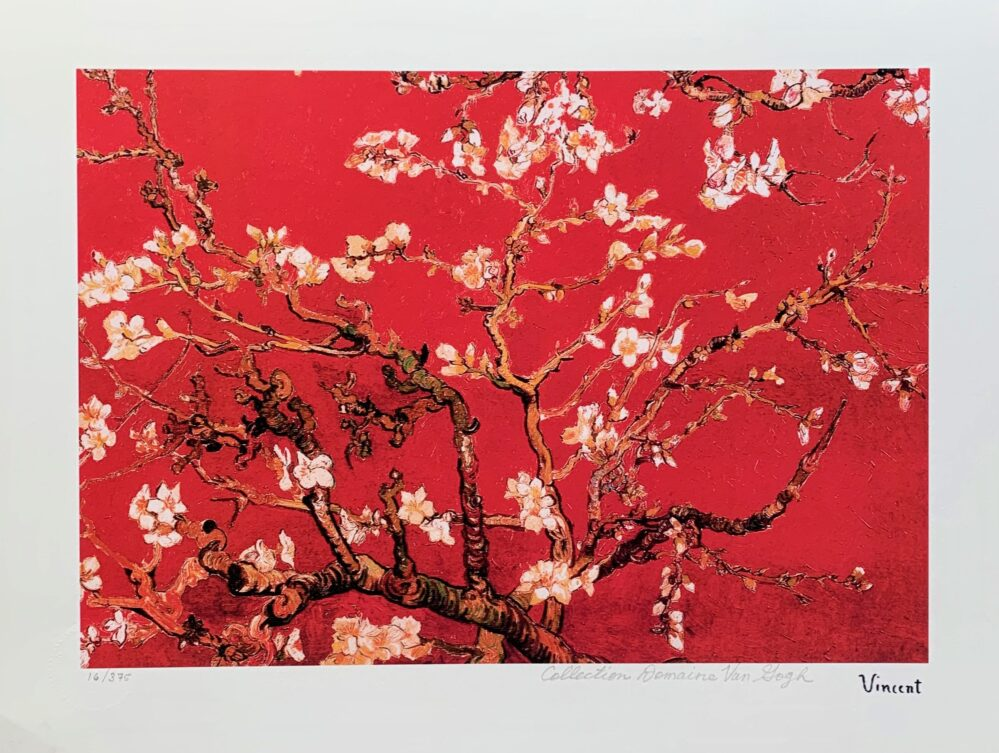 Vincent Van Gogh RED ALMOND BLOSSOMS Estate Signed Limited Edition Small Giclee