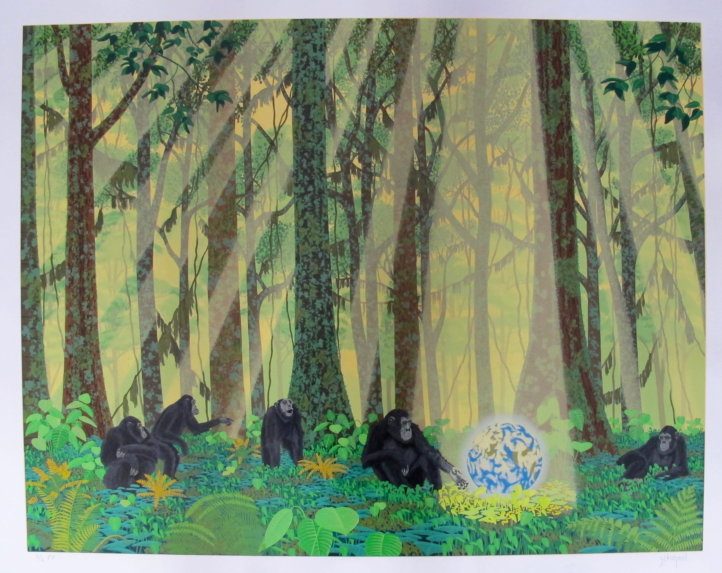 WILLIAM SCHIMMEL CHIMPS EARTH Hand Signed Serigraph CHIMPANZEE