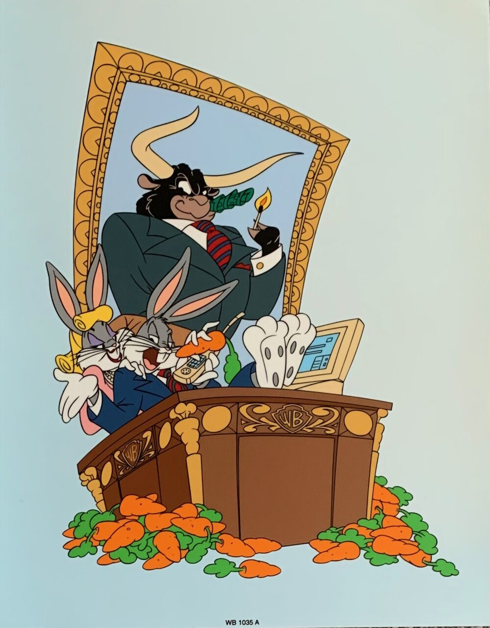 Warner Bros BUGS BUNNY MORE BULL STOCK MARKET Sericel Animation Art Cel