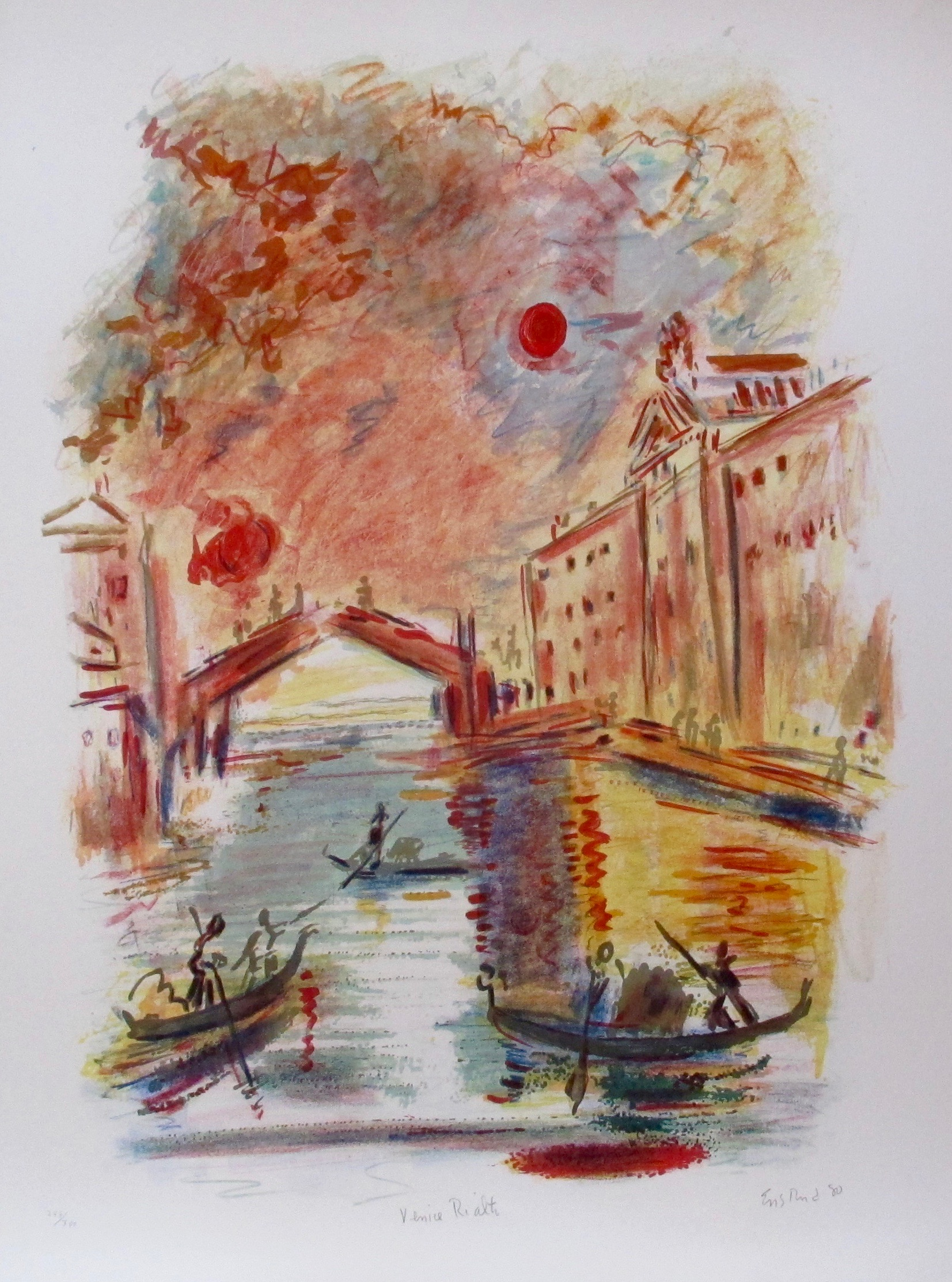 WAYNE ENSRUD VENICE RIALTO Hand Signed Limited Edition Lithograph