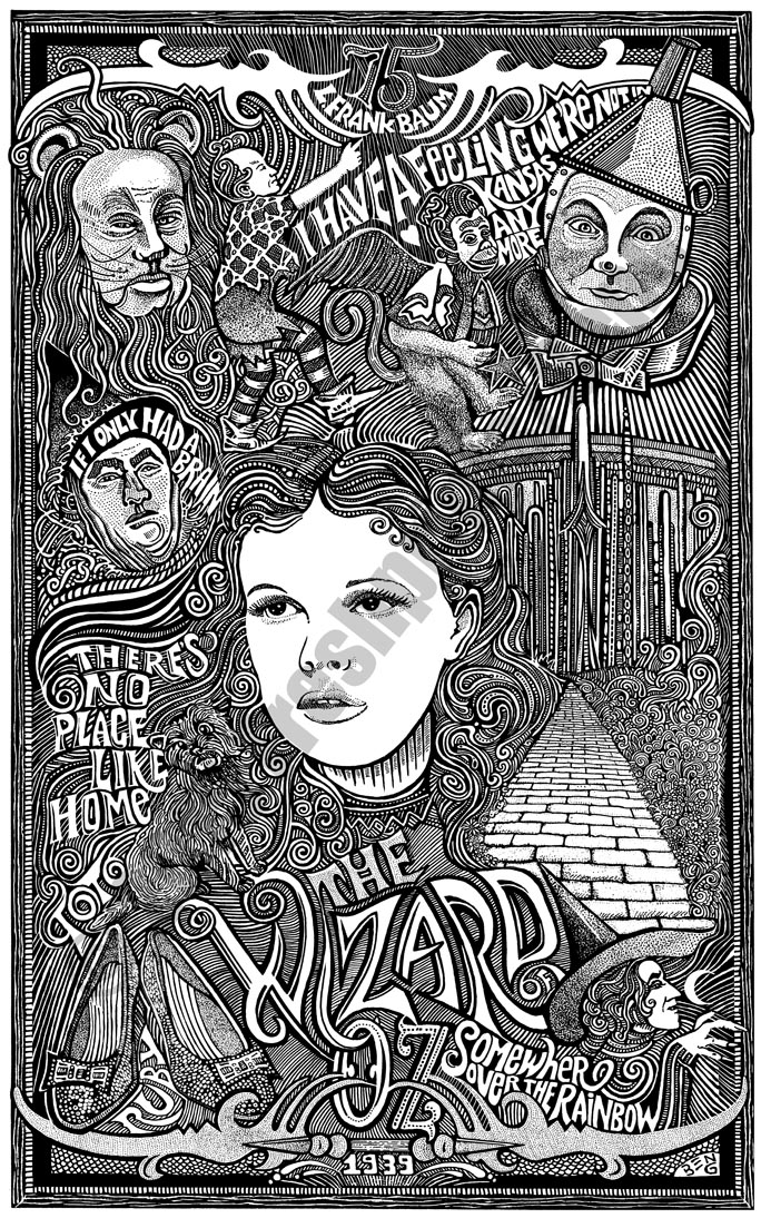 THE WIZARD OF OZ MOVIE Psychedelic Hand Signed Posterography Letterpress Art