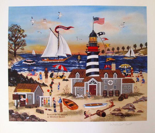 Jane Wooster Scott BEACON ON THE BEACH Hand Signed Limited Ed. Lithograph