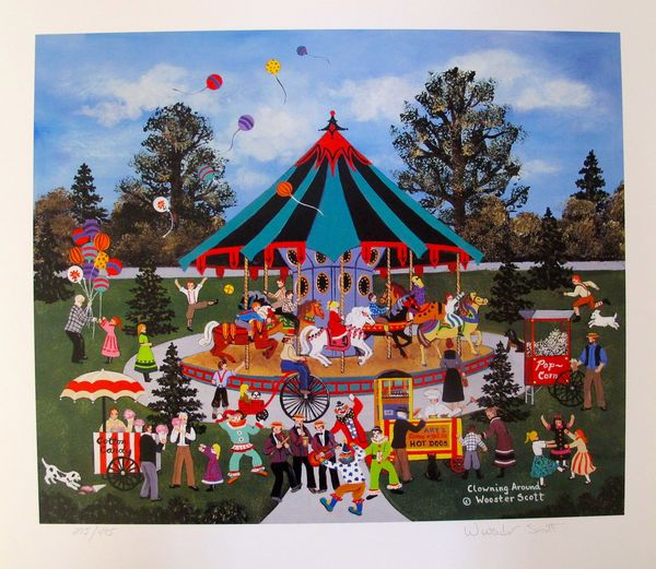 Jane Wooster Scott CLOWNING AROUND Hand Signed Limited Ed. Lithograph