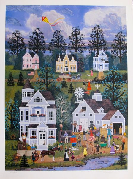 Jane Wooster Scott THE COUNTRY AUCTION Hand Signed Limited Ed. Lithograph