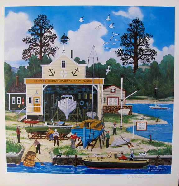 Jane Wooster Scott SALEM SHIPYARD Hand Signed Limited Ed. Lithograph