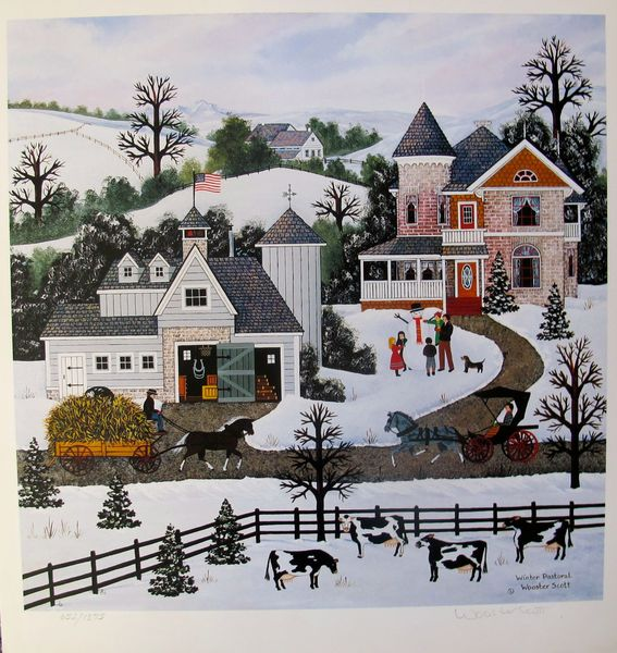 Jane Wooster Scott WINTER PASTORAL Hand Signed Limited Ed. Lithograph
