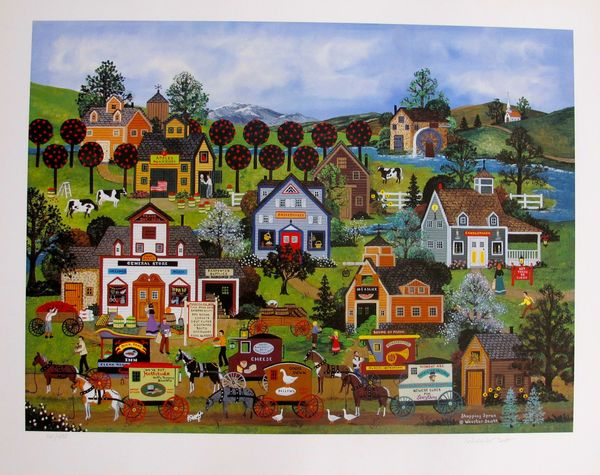 Jane Wooster Scott SHOPPING SPREE Hand Signed Limited Ed. Lithograph