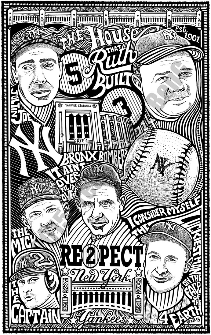N.Y. YANKEES Psychedelic Hand Signed Posterography Letterpress Art BASEBALL