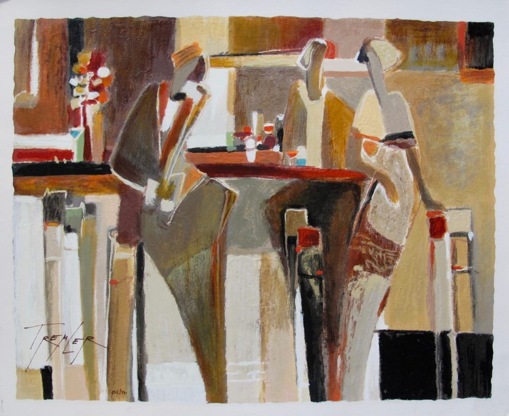Yuri Tremler BAR SCENE I Hand Signed Limited Edition Serigraph