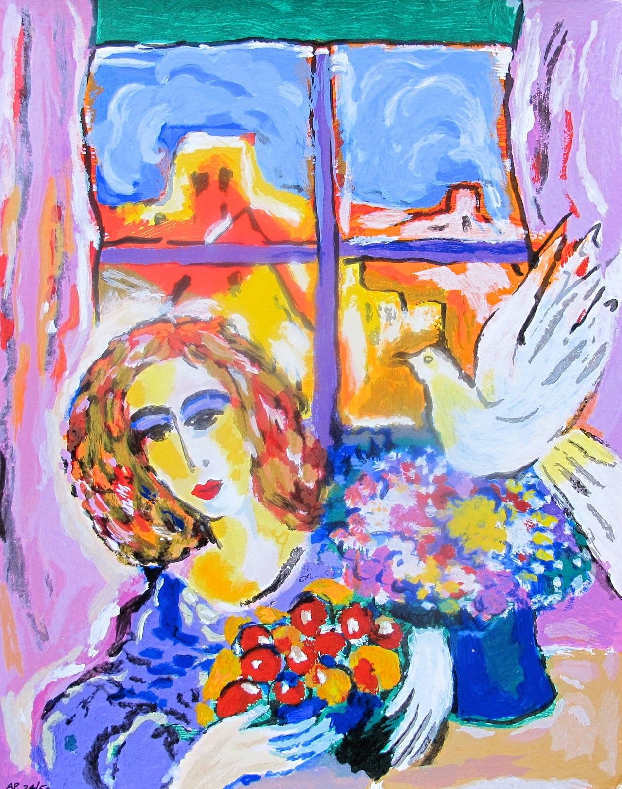 "ZAMY STEYNOVITZ ""DOVE AT THE WINDOW"" Limited Edition Art Serigraph"