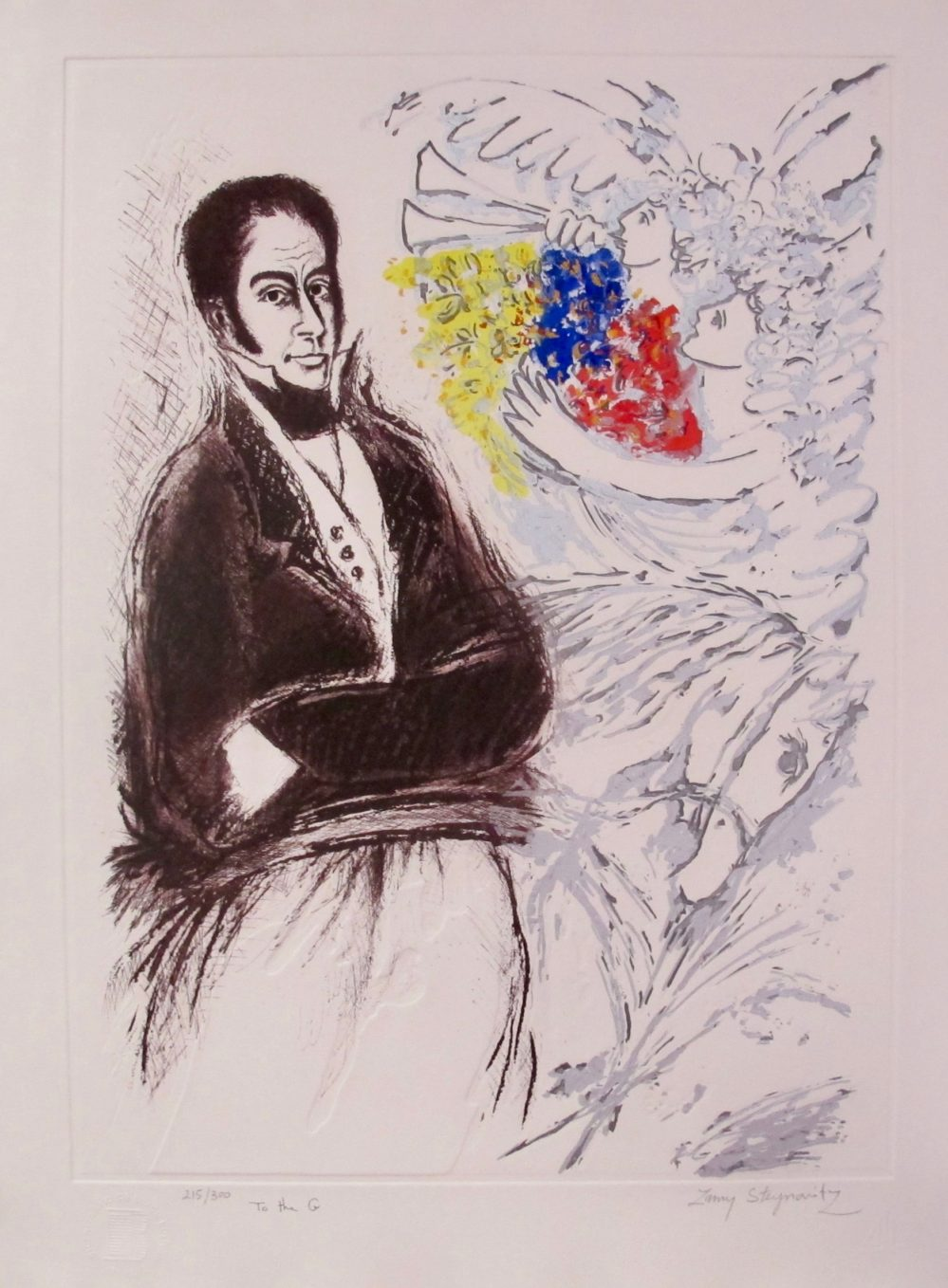 ZAMY STEYNOVITZ Bicentennial of Simon Bolivar Hand Signed Embossed Ltd Edition Lithograph
