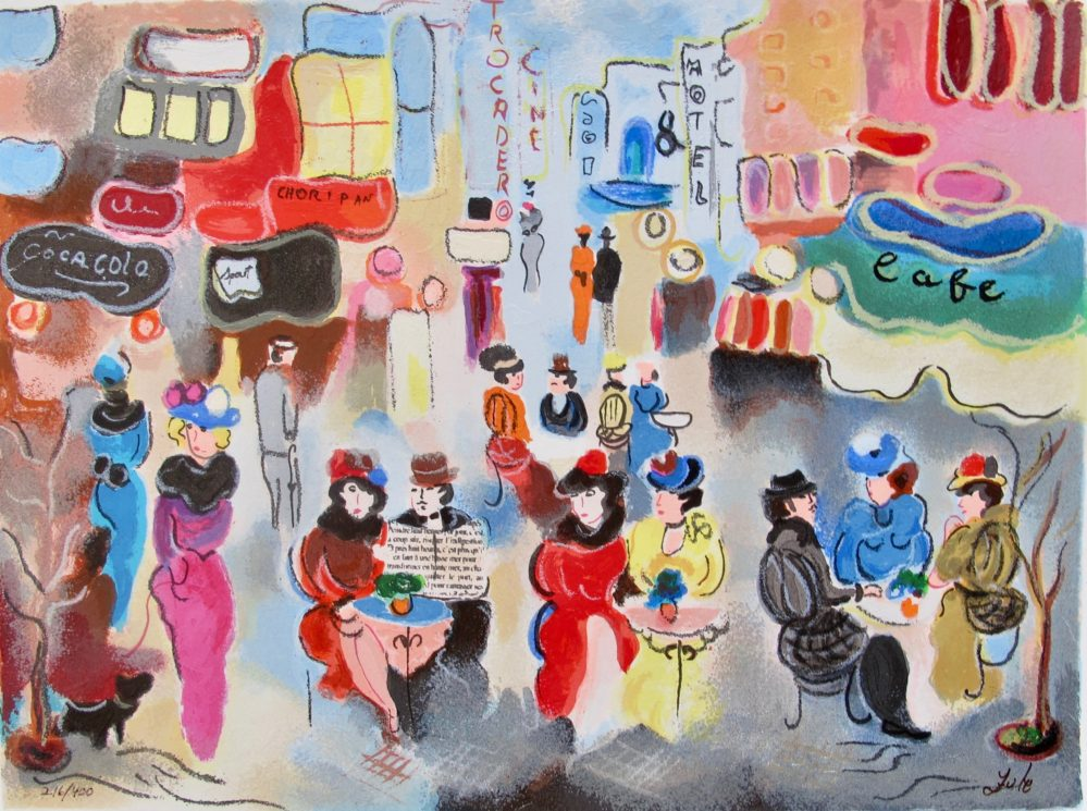 """ZULE MOSKOWITZ """"BUENOS AIRES"""" Hand Signed & Embellished Serigraph"""