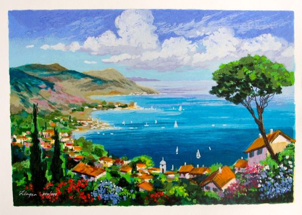 "ANATOLY ZINGER ""SEASIDE"" Hand Signed Limited Edition Embellished Serigraph"