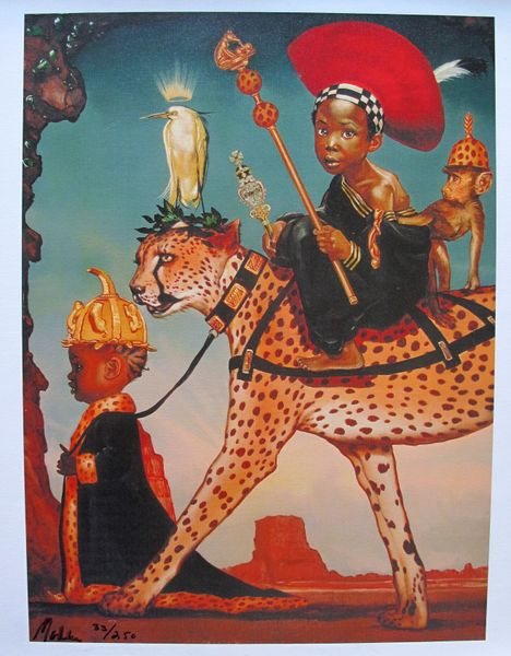 Ralph Wolfe Cowan AFRICAN PRINCE & PRINCESS Limited Ed. Giclee on Canvas