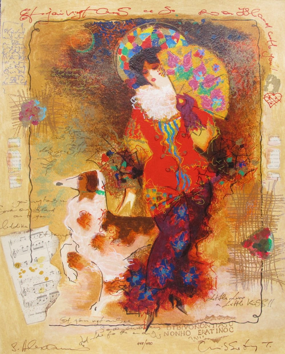 Alexander Galtchansky Tanya Wissotzky LADY WITH DOG Hand Signed Limited Edition Serigraph