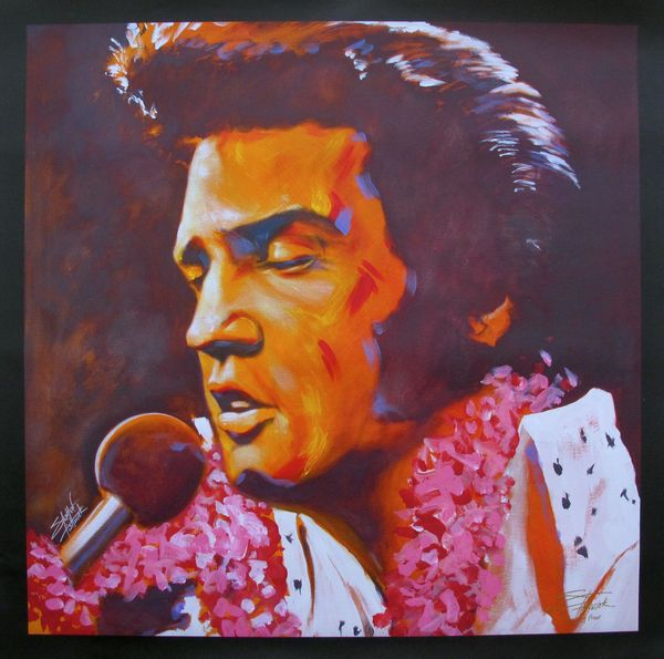 "Stephen Fishwick ""ALOHA"" ELVIS PRESLEY Limited Ed. Hand Signed Large Giclee on Canvas"