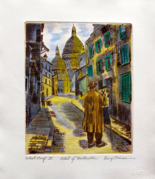 "This is a limited edition original hand signed etching by George Crionas titled ""ARTIST OF MONTMARTRE VI""."