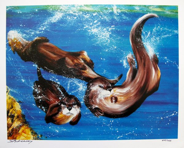 """Susan Andreasen SEA OTTERS """"A SPLASH OF FUN"""" Limited Ed. Hand Signed Serigraph"""