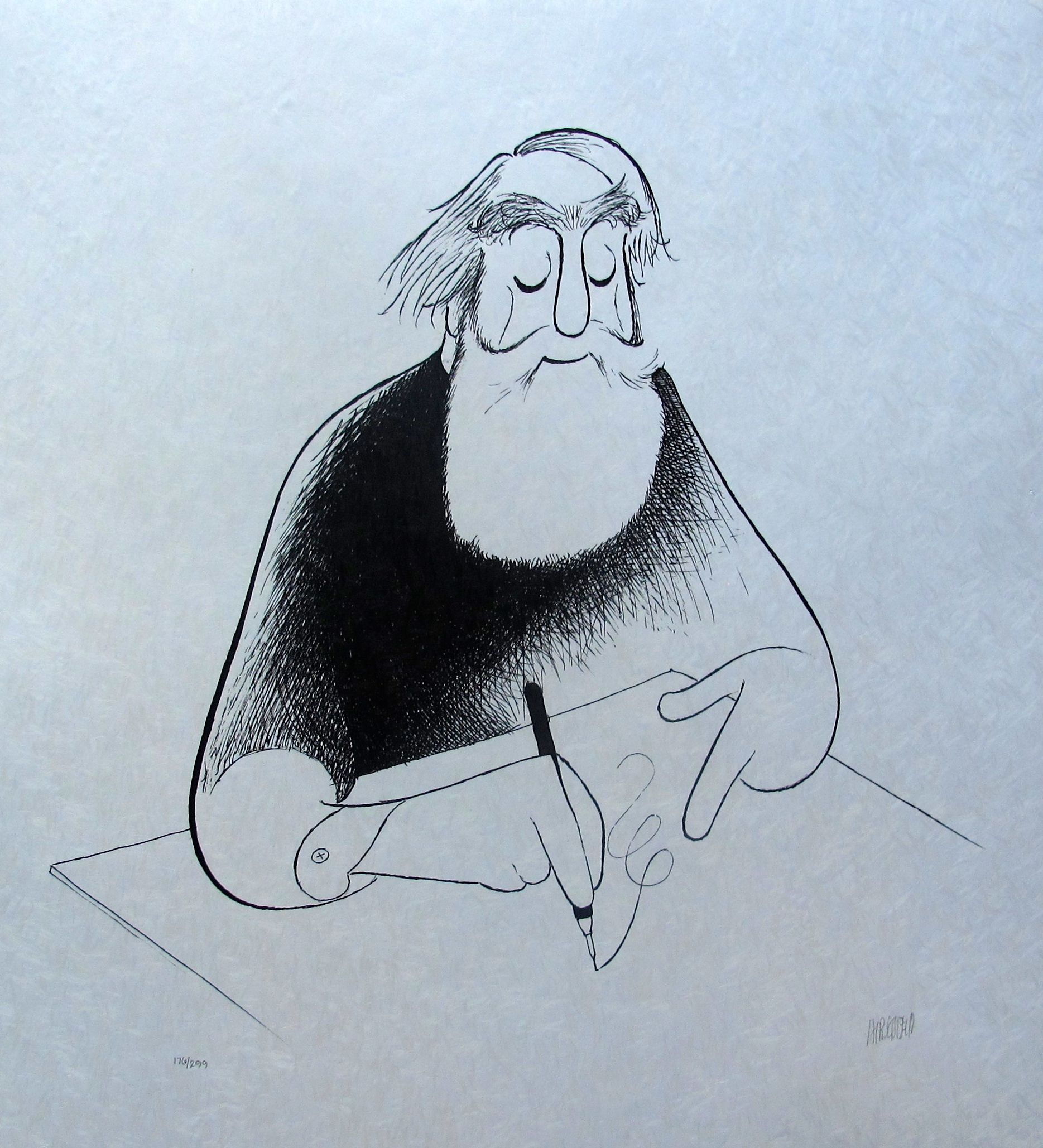 "AL HIRSCHFELD ""SELF PORTRAIT AT 99"" Hand Signed Limited Edition Lithograph"