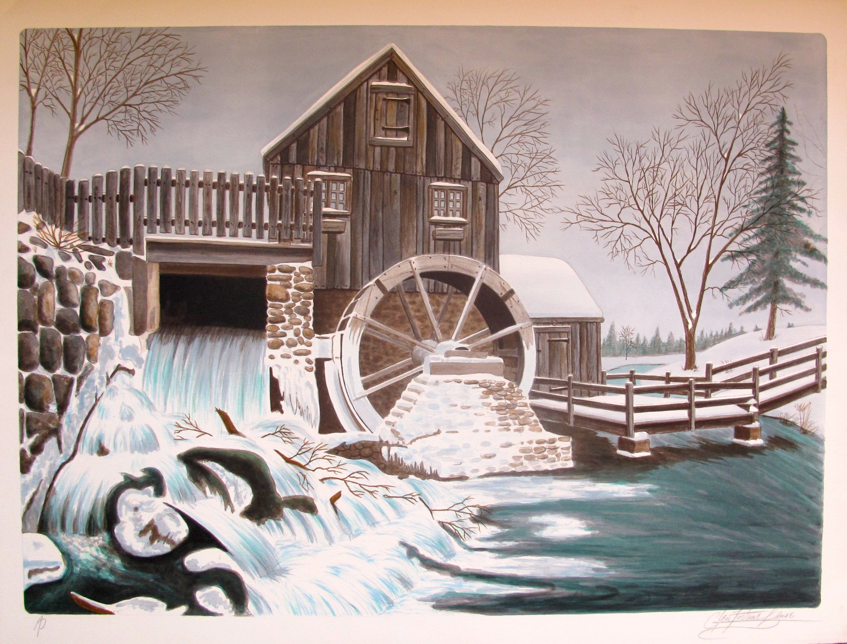 Glen Fortune Banse THE MILL Hand Signed Limited Edition Lithograph