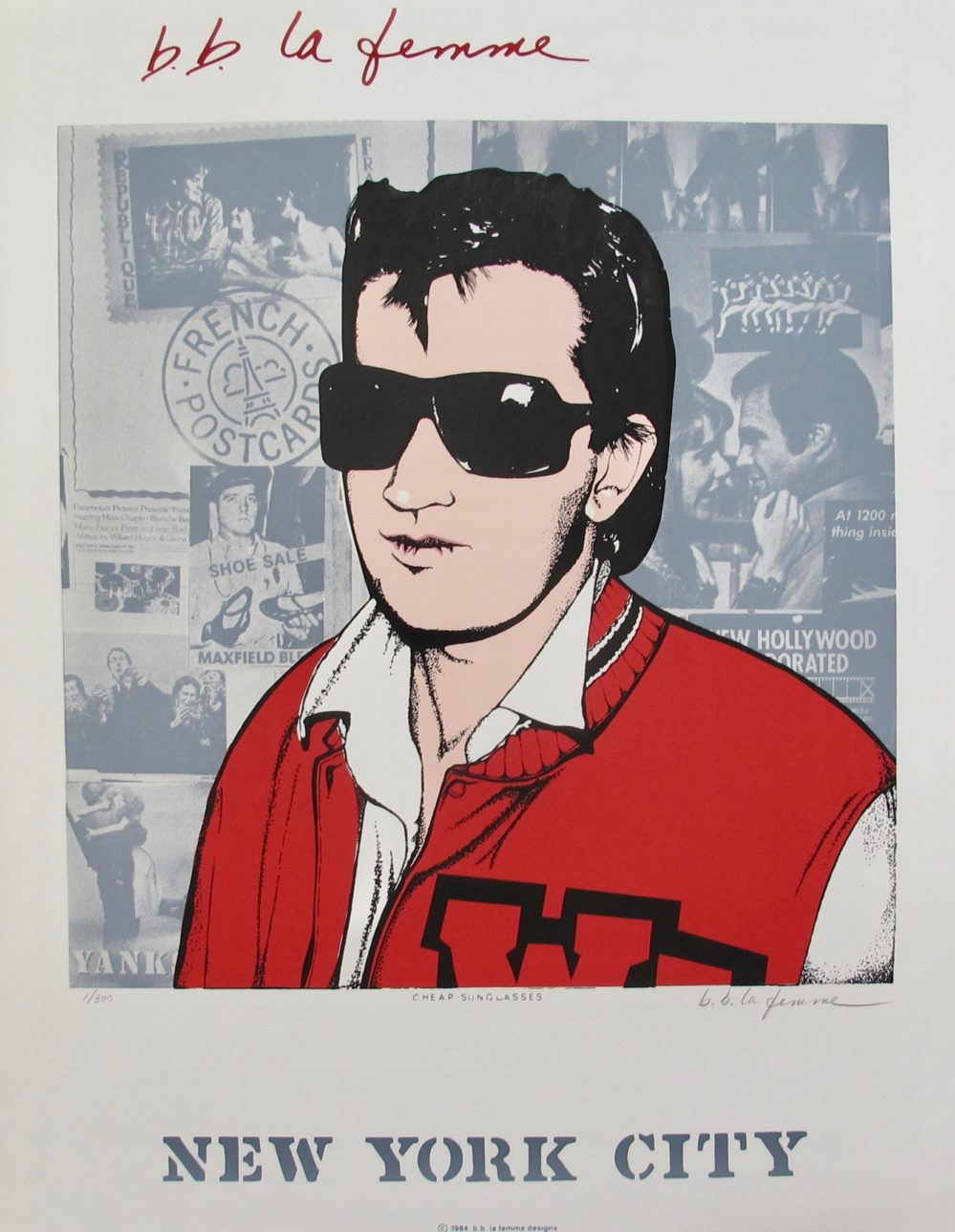 B.B. La Femme CHEAP SUNGLASSES 1984 Hand Signed Serigraph