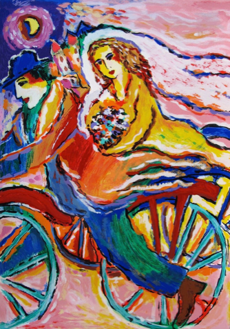 "ZAMY STEYNOVITZ ""BICYCLE BRIDE & GROOM"" Limited Edition Serigraph"