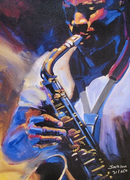 Christopher Jackson BLOWING THE HORN Limited Ed. Hand Signed Giclee on Canvas