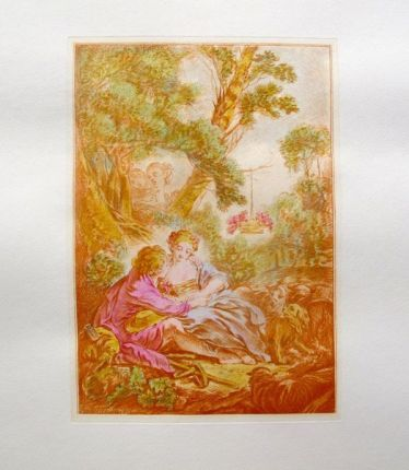 "FRANCOIS BOUCHER Hand Colored Etching ""IN OCTOBER"""