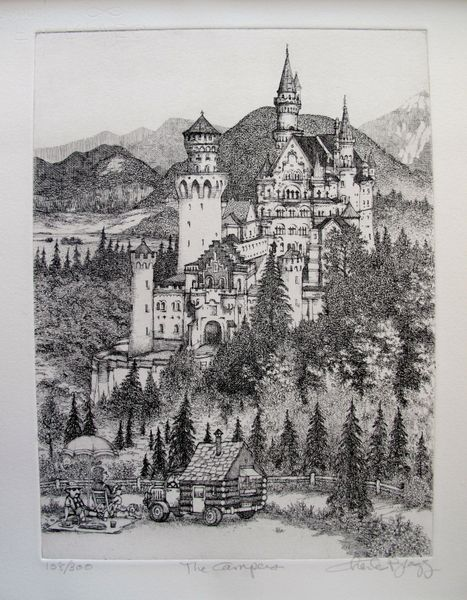 Charles Bragg THE CAMPERS Hand Signed Limited Edition Etching