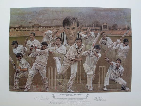 Stephen Doig WARWICKSHIRE COUNTY CRICKET CLUB Hand Signed Limited Ed. Lithograph