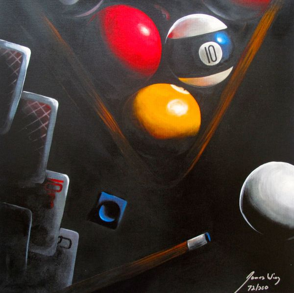James Wing BLACK POKER Hand Signed Limited Ed. Giclee on Canvas $39.99 Category: WING, James.
