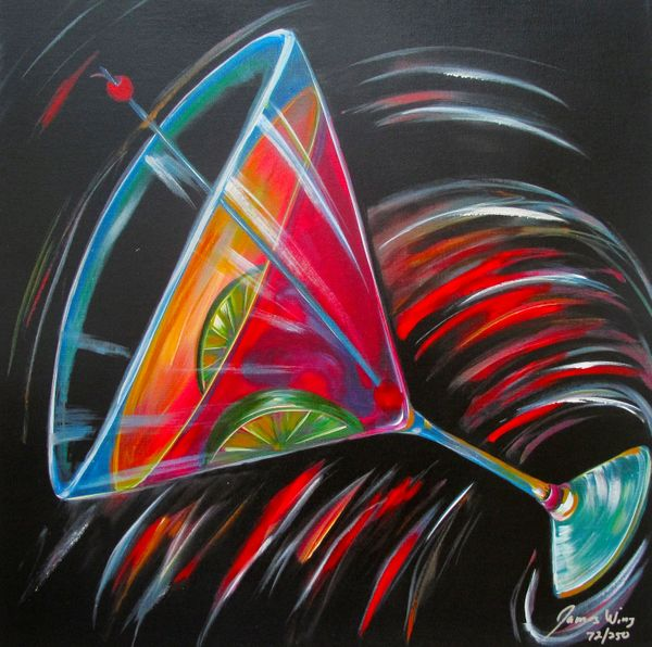 James Wing COSMO MARTINI Hand Signed Limited Ed. Giclee on Canvas