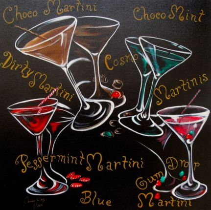 James Wing COSMOPOLITAN MARTINIS Hand Signed Limited Ed. Giclee on Canvas