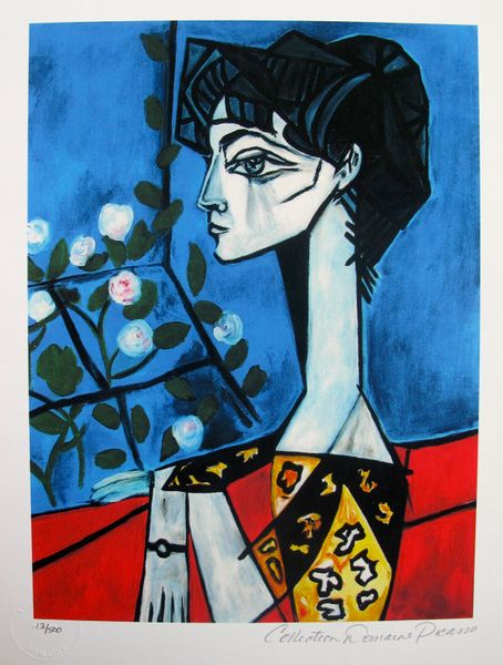 Pablo Picasso JACQUELINE ROQUE WITH FLOWERS Estate Signed Limited Edition Small Giclee