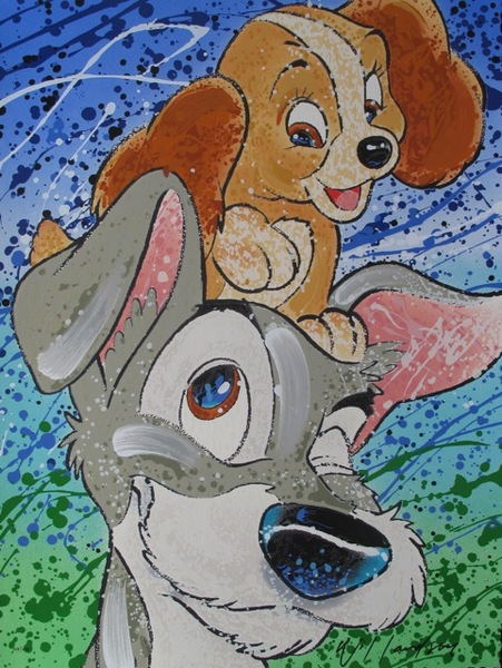 David Willardson LADY & THE TRAMP, HAIR OF THE DOG Hand Signed Limited Ed. Serigraph